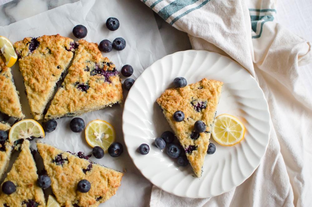 Paleo Lemon Blueberry Scones