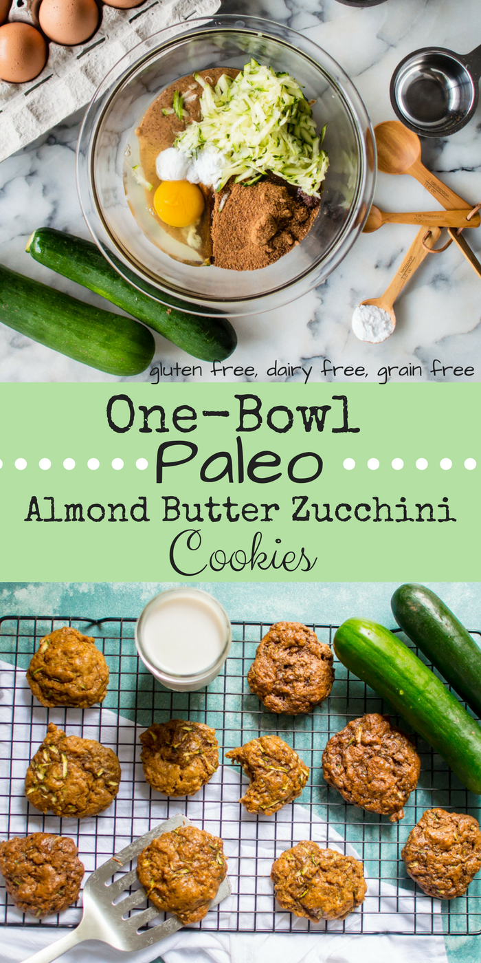 One-Bowl Paleo Almond Butter Zucchini Cookies