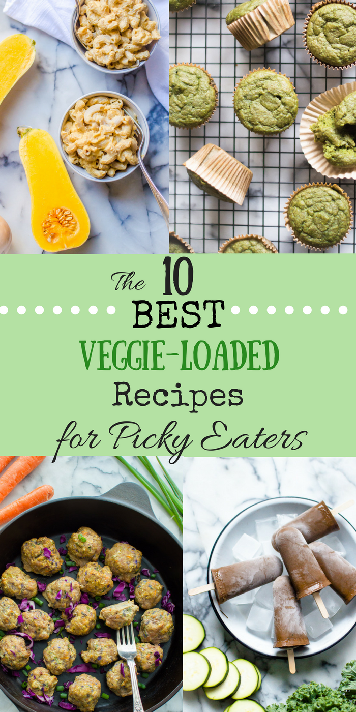 Are you trying to add vegetables into your family's life but are hitting a wall with a family member or two? Or maybe you are just looking for fun and creative ways to add more veggies into your life? Either way, these are the 10 BEST Veggie-Loaded Recipes for Picky Eaters and they will totally change how your family sees vegetables! #hiddenveggies #healthyfamilyrecipes #vegetablerecipesforkids #vegetablerecipesfortoddlers