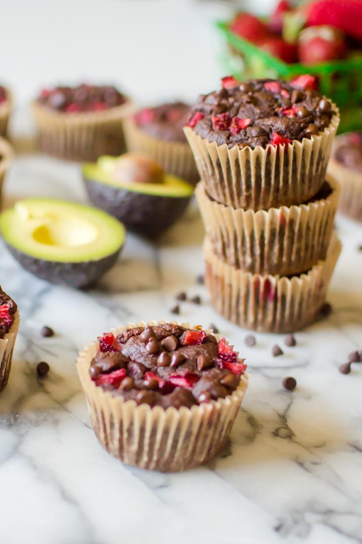 Chocolate Avocado Strawberry Muffins {Paleo}