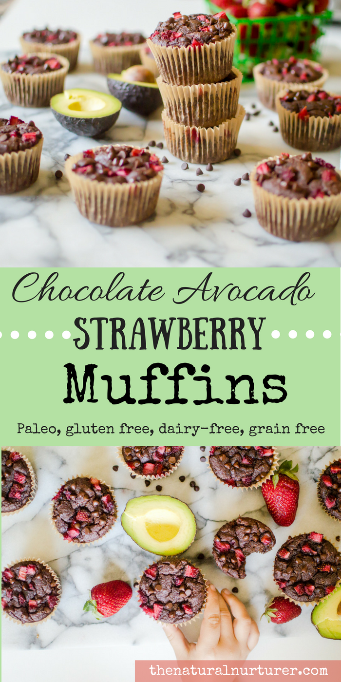 Chocolate Avocado Strawberry Muffins {Paleo}