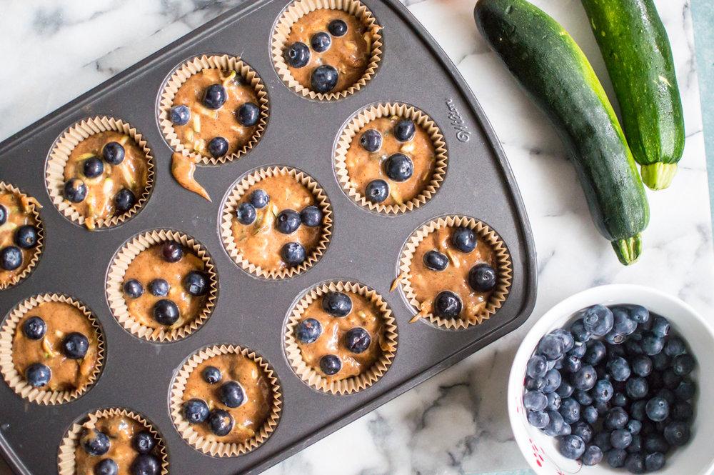 Almond Butter Blueberry Zucchini Muffins {Paleo, Gluten Free, Dairy-free}