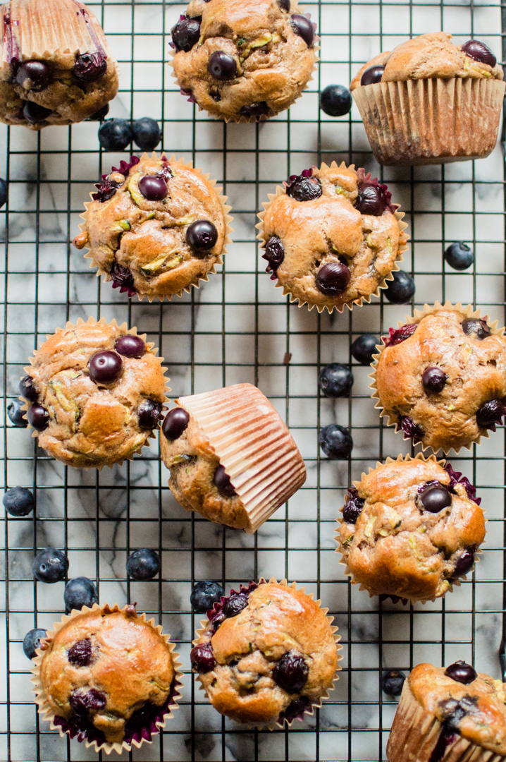 These Almond Butter Blueberry Zucchini Muffins are easy, fluffy, and so delicious! Paleo, gluten free, dairy free, but no one will be able to tell! #paleobaking #paleomuffins #glutenfreebaking #glutenfreemuffins