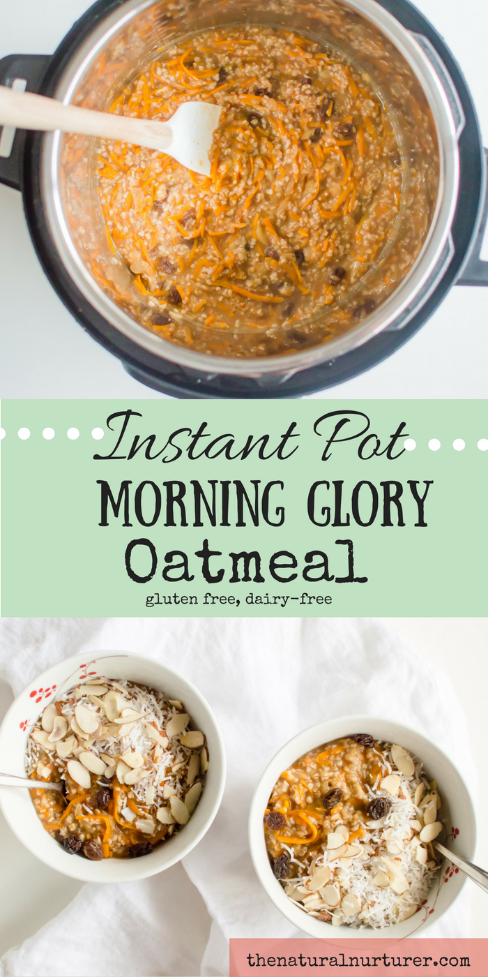 Crank up your morning oatmeal a few notches by making it Morning Glory style! Naturally sweetened, full of real food ingredients that will fuel you on and even a dose of veggie goodness when your day with this recipe! Made with ease in your Instant Pot, this the perfect breakfast for those busy back-to-school mornings! #instantpotbreakfast #instantpotoatmeal #glutenfreeinstantpot #dairyfreeinstantpot