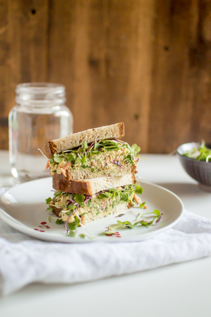 A vegetarian-twist on a tuna salad and loaded with plant goodness, Veggie-Loaded Smashed Chickpea Salad is a protein-packed lunch staple that is easy pease to make and delicious to enjoy. #healthylunchbox #healthykids #vegetarianlunch