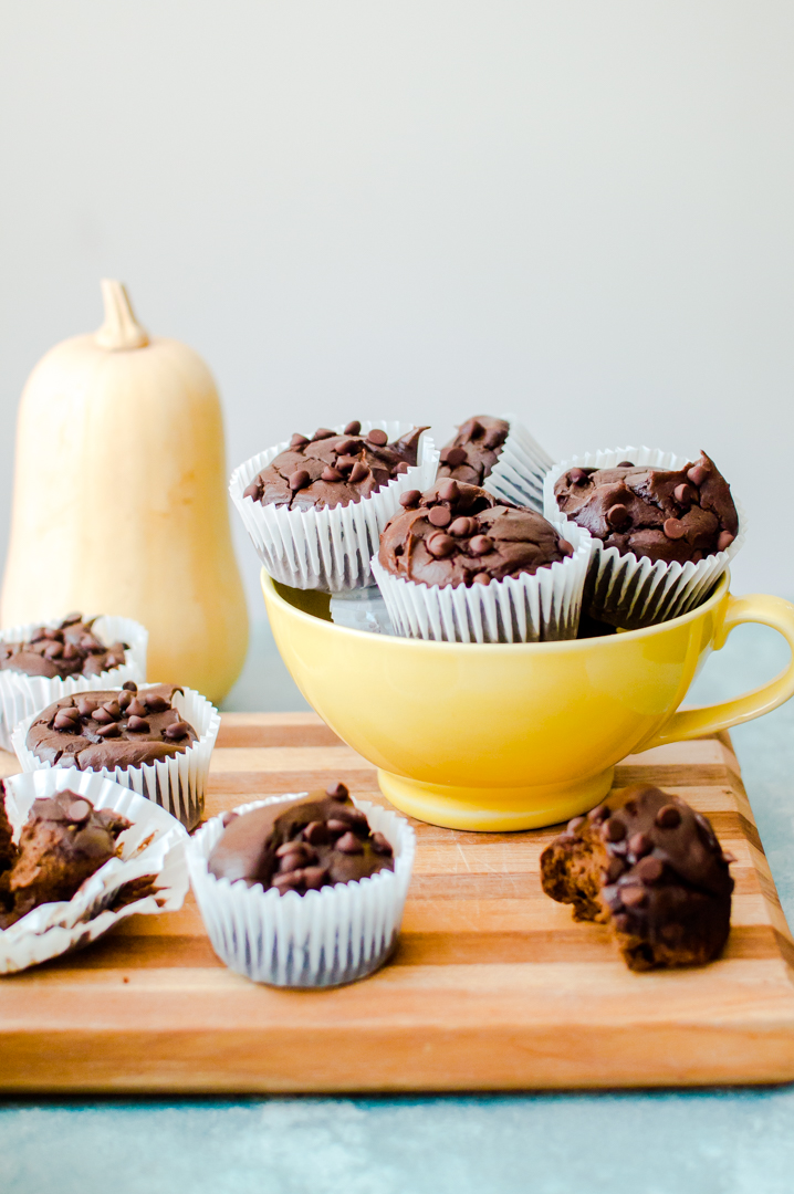 Healthy enough for a muffin. Chocolatey enough to be a cupcake. Nut-Free Paleo Chocolate Butternut Squash Muffins are a delicious little way to serve up something sweet that also fuels your body on nothing but the good stuff! #nutfreepaleo #paleomuffin #nutfreemuffin #veggieloadedmuffin