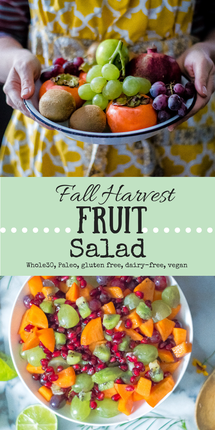Fruit salads are not just for hot summer days! Fall Harvest Fruit Salad is a heavenly spread of fall fruits that are all deliciously tied together with one secret ingredient. A super easy and healthy side to any meal! #glutenfree #dairyfree #paleo #glutenfreerecipe #paleorecipe #healthy #healthyrecipe #cleaneating #thenaturalnurturer #thenaturalnurturerrecipes #whole30sides #whole30salad #whole30thanksigiving #whole30recipes