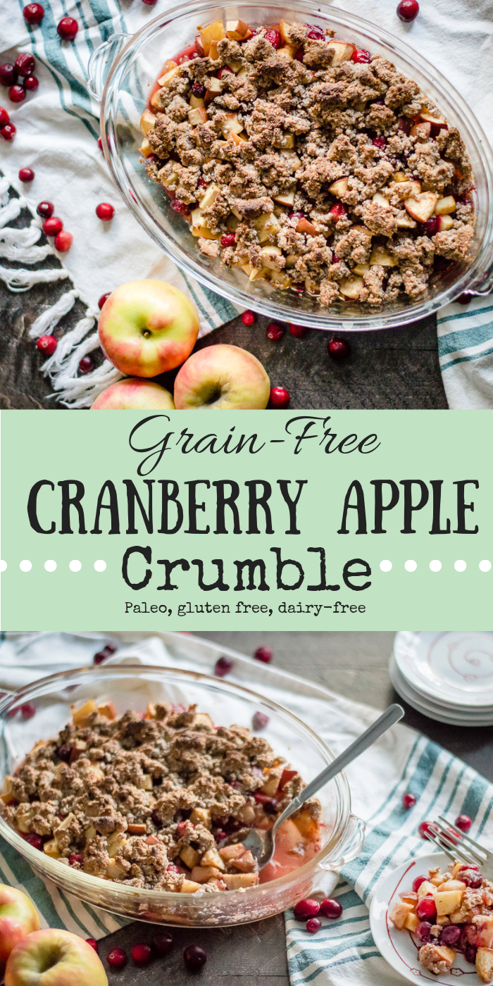 Grain-Free Cranberry Apple Crumble is the perfect fall blend of sweet apples and tangy cranberries in on warm and cozy naturally sweetened dessert that is naturally gluten free and dairy-free...and sure to be a crowd pleasing dessert! #glutenfreedessert #thenaturalnurturer #thenaturalnurturerrecipes #paleodesserts #dairyfreedesserts #paleodesserts #naturallysweetened #healthythanksgiving #healthyfalldesserts