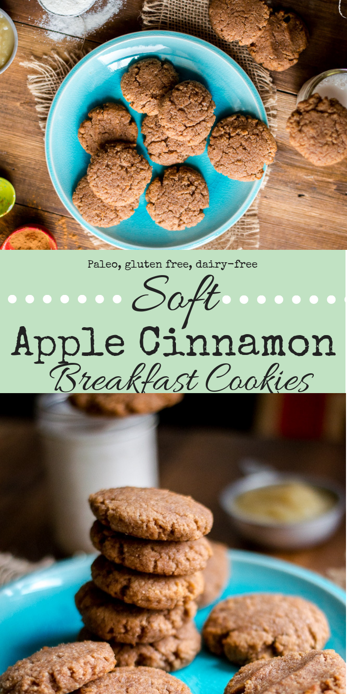 Um, who is going to say no to a cookie for breakfast? Certainly not me. And these Soft Apple Cinnamon Breakfast Cookies are the perfect thing to have on hand for mornings when life is moving a bit faster than you are.  #paleocookies #paleobaking #glutenfreecookies #glutenfreebaking #healthycookie #breakfastcookie #thenaturalnurturer #thenaturalnurturerrecipes