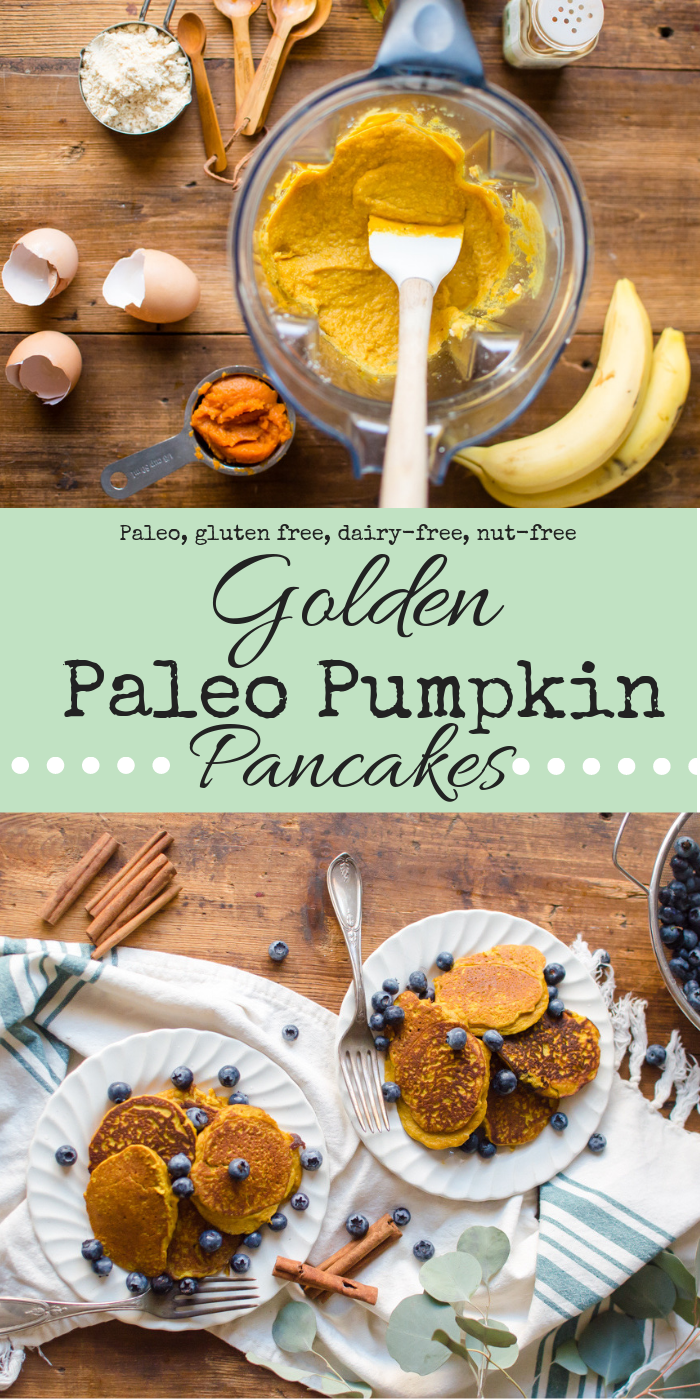 Golden Paleo Pumpkin Pancakes are pretty much the coziest way to kick off a day…and they are healthy to boot! Full of nutrient dense ingredients like anti-inflammatory promoting turmeric and vitamin C rich pumpkin, these pancakes are naturally sweetened with banana, gluten free, dairy-free and are going to warm you up heart and soul. #pumpkinpancakes #veggieloaded #Paleopancakes #tumericrecipes #thenaturalnurturer #thenaturalnurturerrecipes #glutenfreepumpkinrecipes #dairyfreepumpkinrecipes