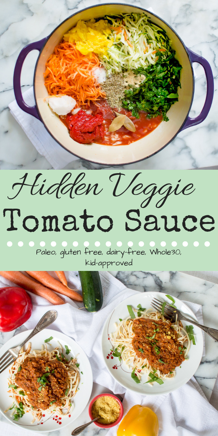 Are you looking for an easy (and maybe slightly sneaky) way to get wholesome and nutrient-dense veggies into your and your family's diet? 30-Minute Veggie-Loaded Tomato Sauce is the perfect place to start! Chock FULL of oodles of veggies, all made in one pot and done cooking by the time the pasta has finished boiling, this veggie-loaded sauce is perfect for a healthy dinner on the busiest of weeknights! Plus, you'll have leftovers to enjoy and to help make your next meal veggie-loaded too! #hiddenveggies #kidapproved #whole30tomatosauce #paleotomatosauce #easytomatosauce