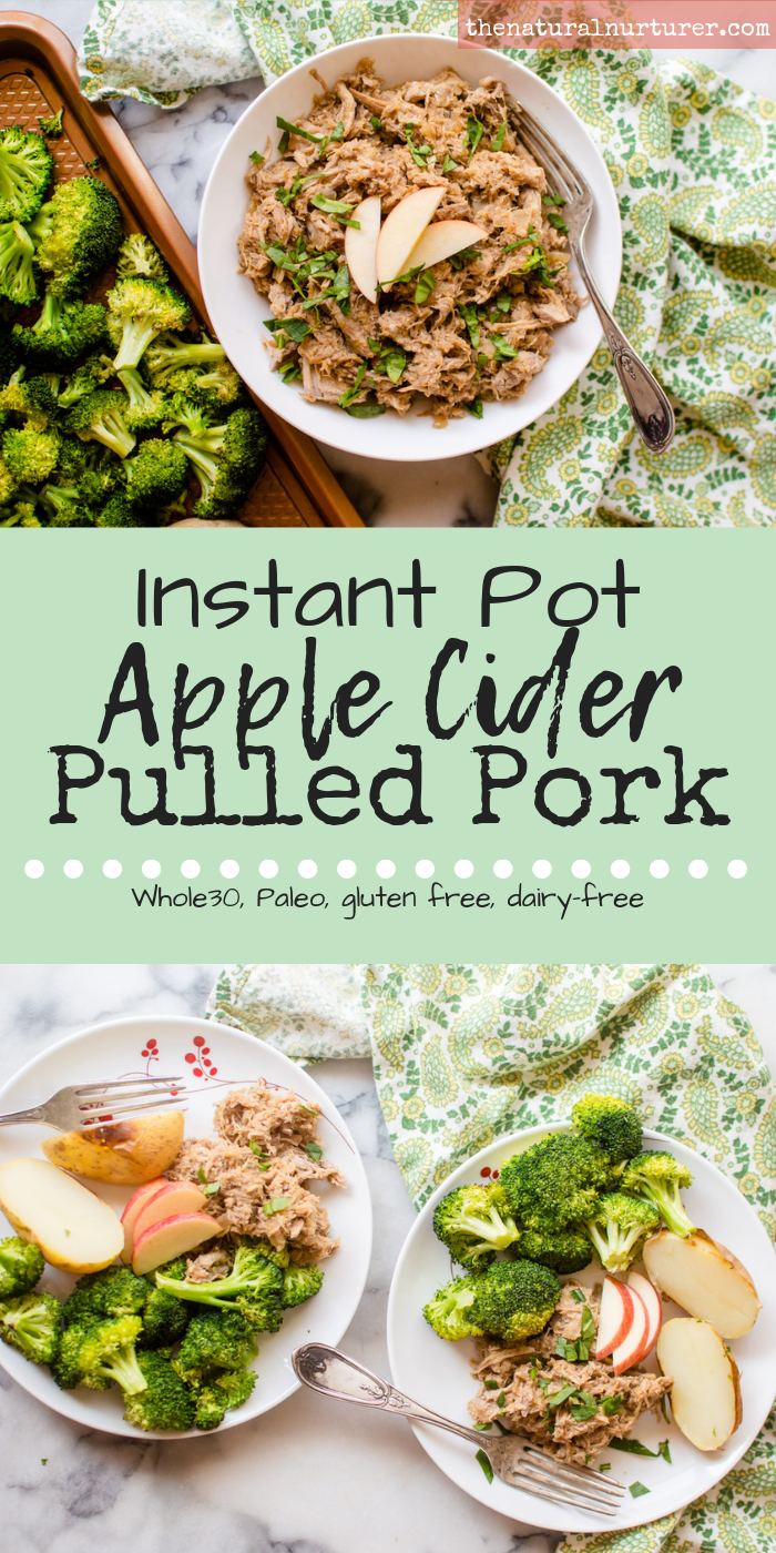 Instant Pot Apple Cider Pulled Pork is the perfect center of any fall dinner. Made in the ease of your Instant Pot, it's the ultimate comfort food to curl up with on a chilly fall night….no matter how busy the day has been! Full of warm fall flavors, this easy peasy protein is Paleo, Whole30 compliant, dairy-free and gluten free. #whole30instantpot #whole30pulledpork #paleoinstantpot #paleopulledpork