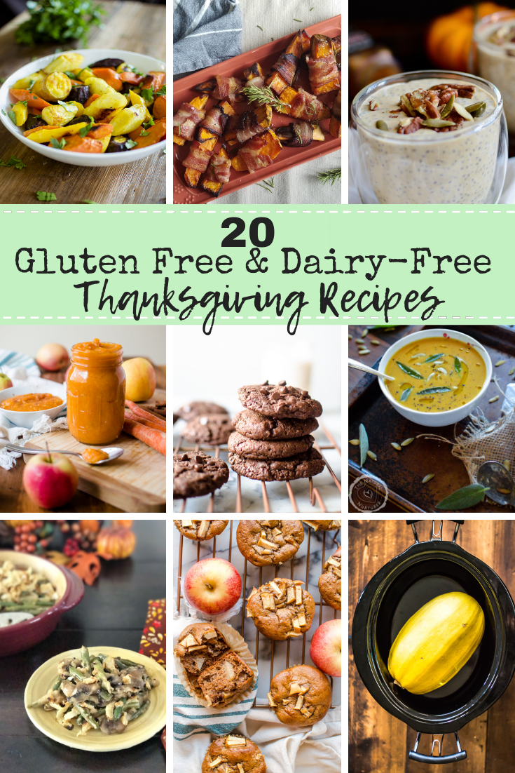 For so many people, gluten and dairy are two food groups that just don't fly with their digestive tract. However, they are also ingredients that are in so many celebratory foods that we enjoy at this time of year. Luckily, with a little creative cooking, the feast can go on sans gluten and dairy! Here are 20 amazing gluten and dairy-free recipes for your Thanksgiving table. #healthythanksgiving #glutenfreethanksgiving #dairyfreethanksgivingrecipes