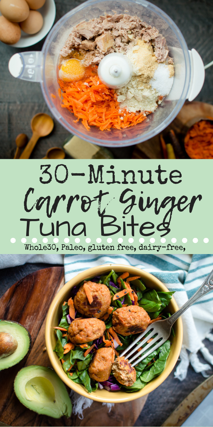 Jazz up dinnertime in an easy and veggie-loaded way with 30-Minute Carrot Ginger Tuna Bites! Perfect as a finger food little and big eaters alike or served over greens, baked sweet potatoes, cauliflower rice or your favorite pasta or spiraled veggie, these nuggets pack a punch of flavor and protein in perfectly portioned out bites. #hiddenveggies #veggieloaded #whole30recipes #paleorecipes