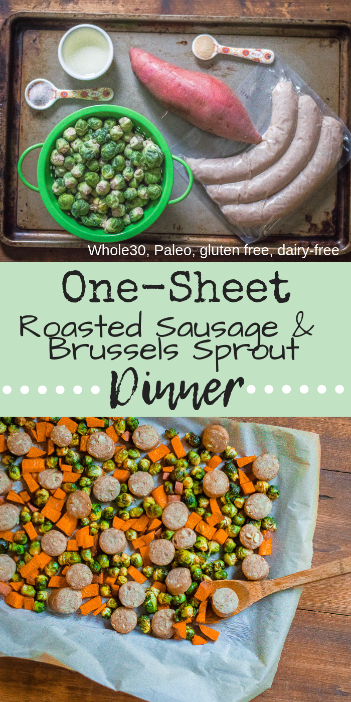 One-Sheet Roasted Sausage & Brussels Sprout Dinner is a meal that comes together with little effort, time or dirty dishes (win!). Tender, flavorful Brussels sprouts and sweet potatoes paired with hearty sausage makes this all-in-one recipe a dish that is sure to be a frequent flyer on your dinner table. #whole30dinner #veggieloaded #veggieladeddinner #healthydinner #paleodinner