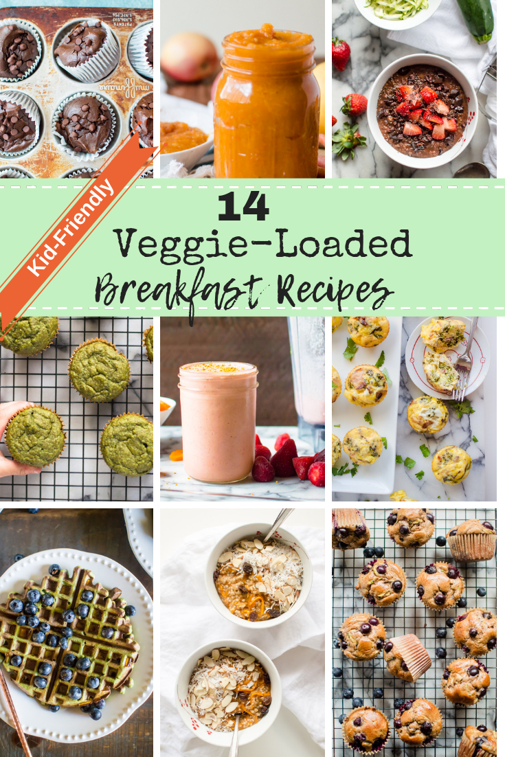 Breakfast is the most important meal of the day! Make sure you are fueling kiddos with veggie-rich foods! Here are 14 Kid-Friendly Veggie-Loaded Breakfast Recipes to get your inspired and open your family's mind to the most important food group being part of the first meal of the day. #hiddenveggies #healthybreakfast #healthykidrecipes #hiddenveggierecipesforkids #veggierecipesfortoddlers