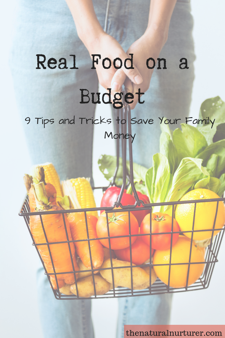 Our family has been eating a real food diet for a long time and over the years, I have collected a few tips and tricks to make a real food budget stretch and to save our family money! #realfoodonabudget #healthyfamily #frugalcleaneating #frugalrealfood #healthylivingtipsandtricks
