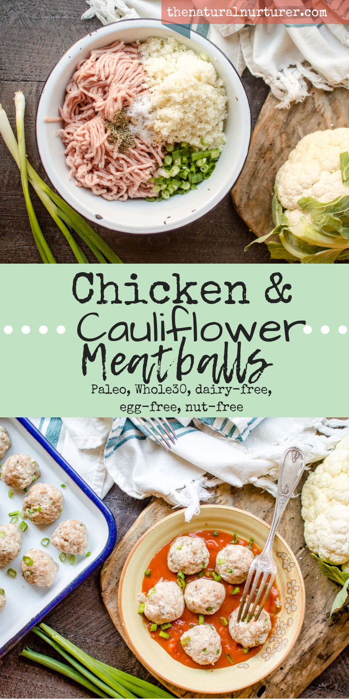 These Chicken & Cauliflower Meatballs are bound to become a new staple! So simple and made with only 7 real food ingredients, these delicious little bites are the perfect thing to make for a protein-packed and veggie-loaded addition to any meal! And they are gluten free, dairy-free, Paleo, Whole30, egg-free and nut-free too! #veggieloadedrecipes #hiddenveggies #healthymeatballs #paleomeatballs #whole30meatballs