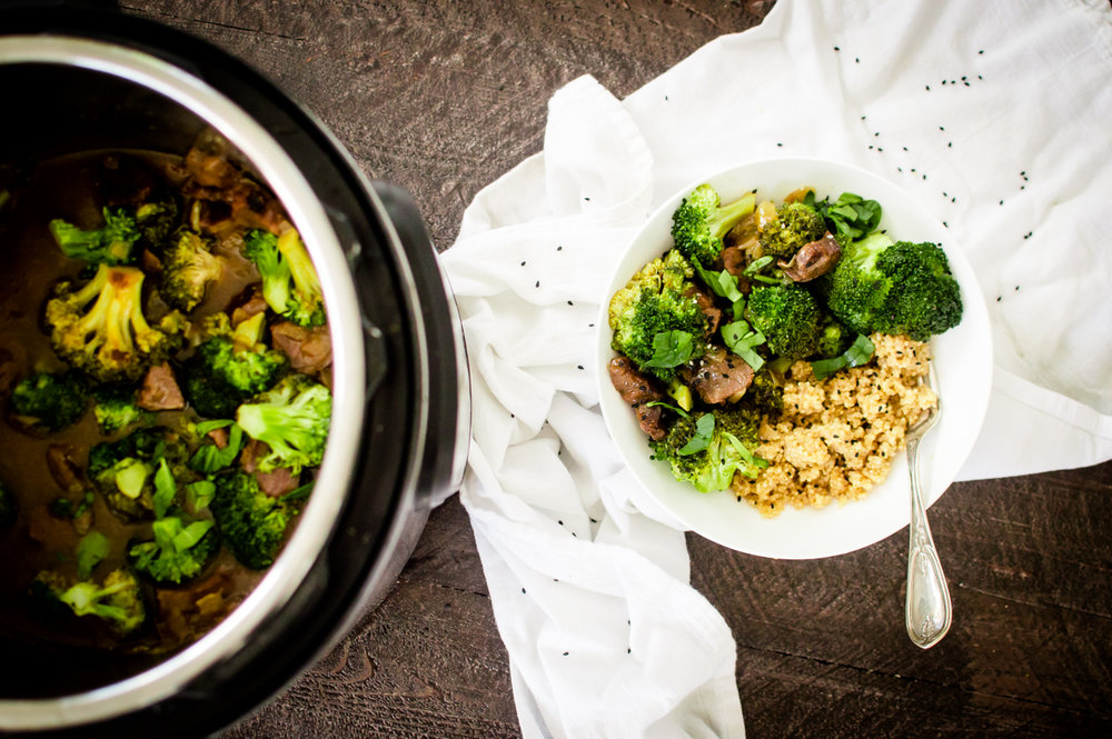 I love a good Instant Pot recipe…especially when it is is full of veggies! Like Instant Pot Beef and Broccoli! This recipe is going to be a busy weeknight dinner game changer for you. Made with ease and speed, this dish is full of flavor and made with nothing but squeaky clean ingredients to fuel you on! Paleo, dairy-free, gluten free and even a Whole30 option. #healthyinstantpot #paleoinstantpot #whole30instantpot #veggieloaded #healtyfamilydinner