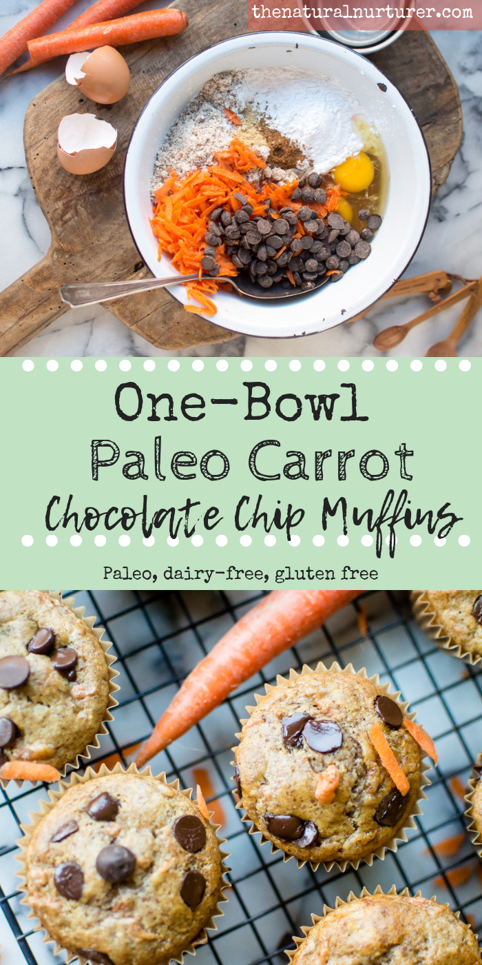 A delicious, veggie-loaded treat, these One-Bowl Paleo Carrot Chocolate Chip Muffins are going to dazzle your tastebuds! They are not only loaded up with with nutrient dense carrots, almonds and other squeaky clean ingredients, but these surprisingly fluffy and soft muffins are naturally gluten free and dairy-free! #veggieloaded #wholefoodtreat #hiddenveggies #glutenfreebaking #paleobaking #dairyfreebaking