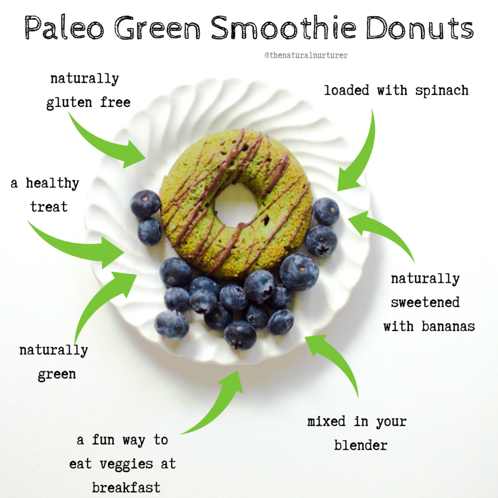 These Paleo Green Smoothie Donuts are the perfect and fun way to get veggies on the breakfast menu! Mixed entirely in your blender and naturally sweetened with bananas, they are loaded with beautiful spinach and full of squeaky clean ingredients.  Get ready, because you are about to level up your veggie-loaded breakfast game! #hiddenveggies #veggieloaded #paleodonuts #paleobaking #glutenfreebaking #healthydonuts