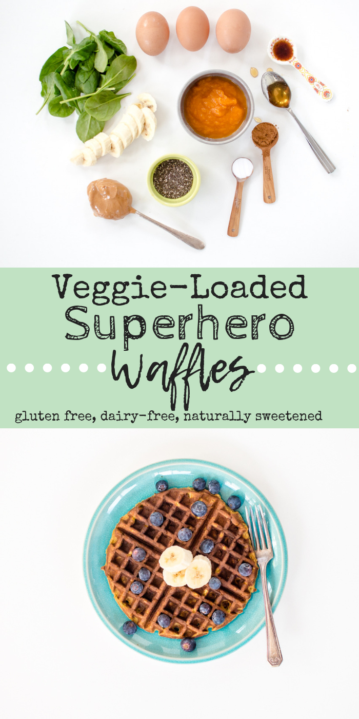 These Superhero Waffles are the perfect start to any morning! Easy to make fresh or stash in the freezer to reheat in a flash, these waffles are not only packed with green veggies and other amazing-for-you ingredients, but are Paleo, gluten free, dairy-free! #hiddenveggies #healthywaffles #spinachrecipesforkids #paleowaffles #glutenfreewaffles #realfoodwaffles #wholefoodwaffles