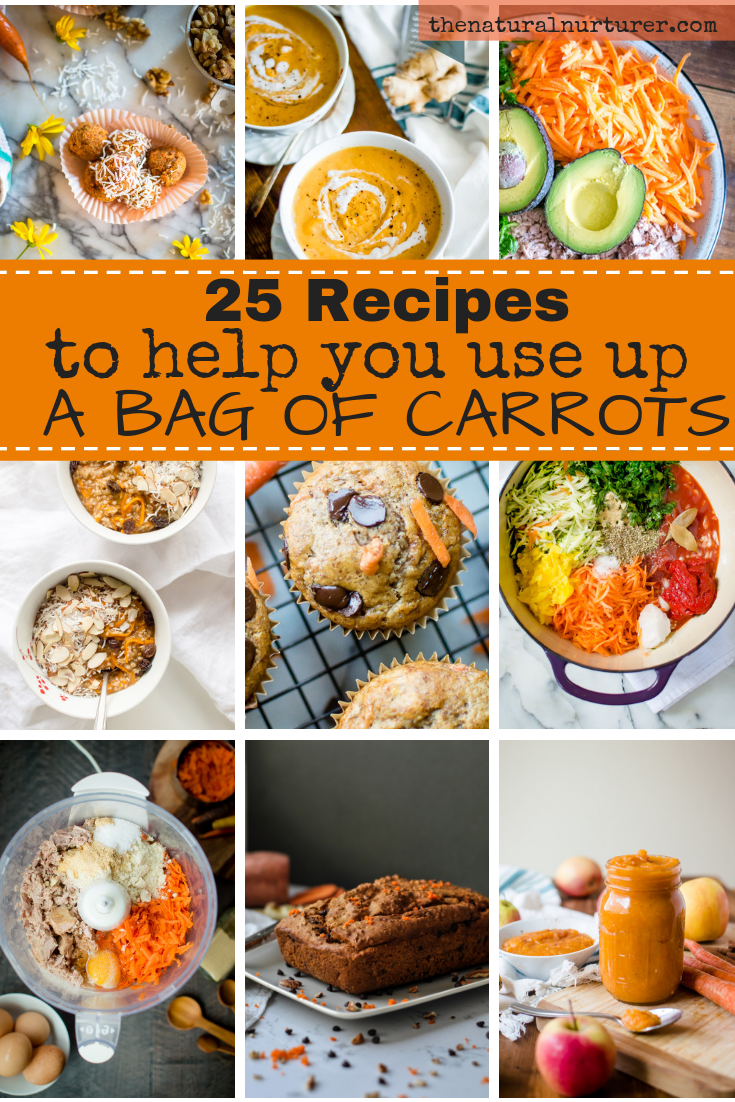 Do you have a big bag of carrots hanging out in your fridge? These 25 healthy recipes will help you use it up in easy and delicious ways! #healthycarrotrecipes #glutenfree #healthyfamily #vegetablerecipes #familyfriendlyvegetablerecipes