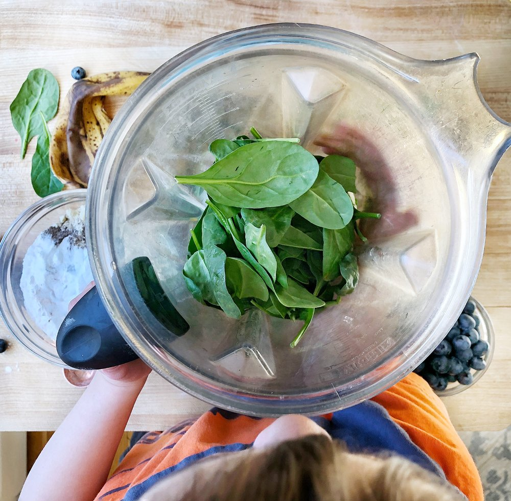 This Banana-Spinach Pancake Pizza is the perfect way to serve up a healthy breakfast with a twist of fun! Sweetened entirely with fruit and loaded with spinach, it is so simple to make and a recipe you will enjoy creating with your kids! Paleo, gluten free, and dairy-free…Veggies just found their place at the breakfast table! #spinachrecipesforkids #veggieloaded #breakfastpizza #paleobaking #glutenfreebaking #hiddenveggies
