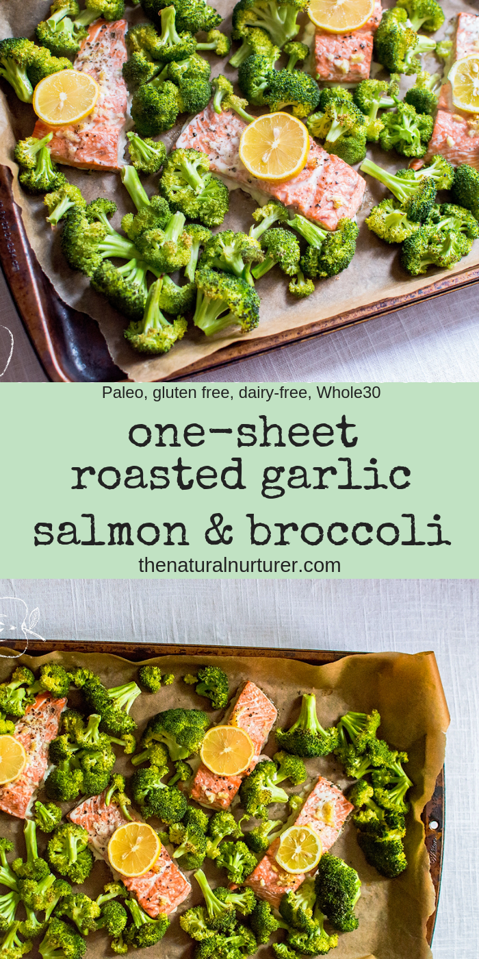 This One-Sheet Roasted Garlic Salmon & Broccoli is easy, quick, and full of flavor! A complete & delicious dinner that is Whole30, gluten free, and dairy free made entirely on one sheet pan….could it get any better? #whole30recipes #paleosheetpan #whole30sheetpan #easydinner #healthydinnerrecipes #veggieloaded