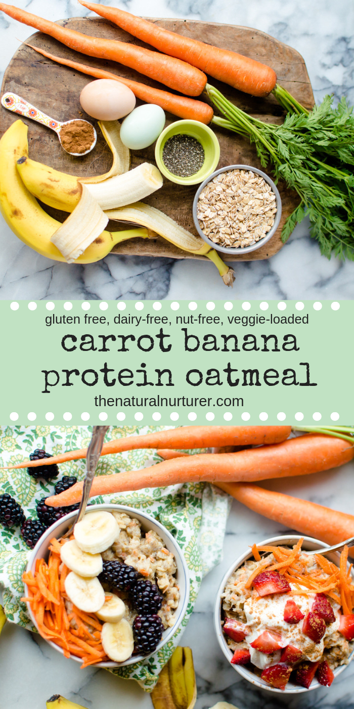 This Carrot Banana Protein Oatmeal is full of nothing but the good stuff and is super easy to make! The perfect healthy breakfast for those busy weekday mornings, you are going to love how these oats fill you up and fuel you on until lunch! #dairyfree #veggieloaded #veggierecipesforkids #veggiesforbreakfast #proteinoatmeal