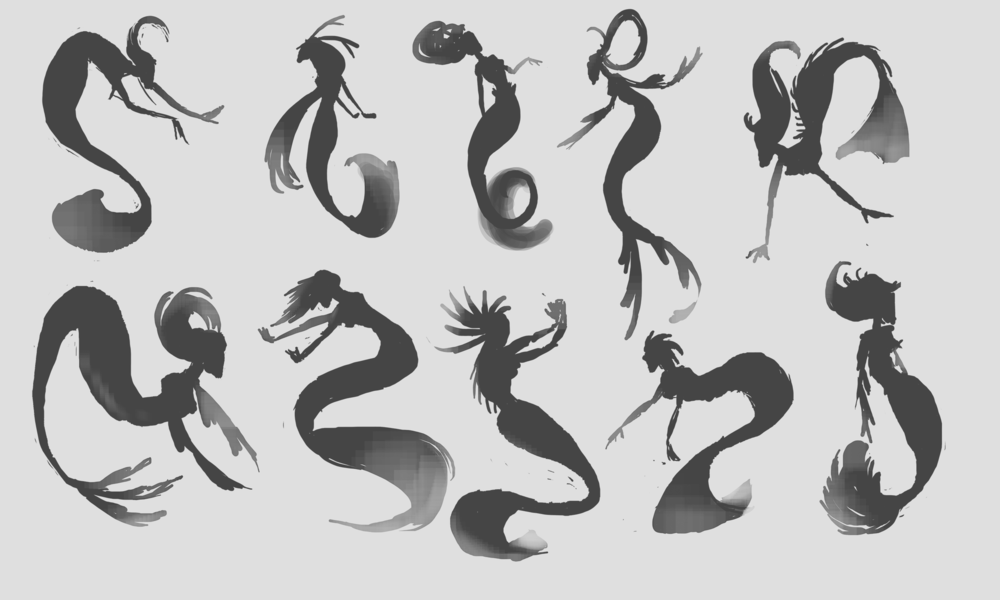 Reimagining of Pan's Labyrinth: Fairies, mermaid form silhouettes