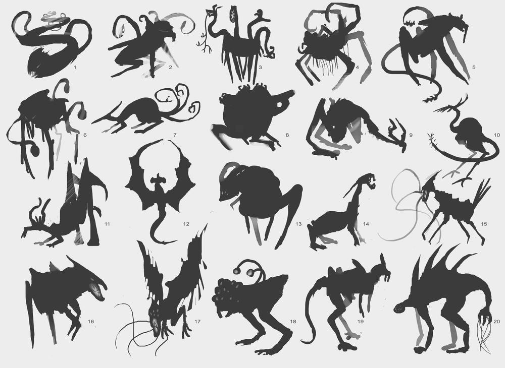 Creature design silhouettes