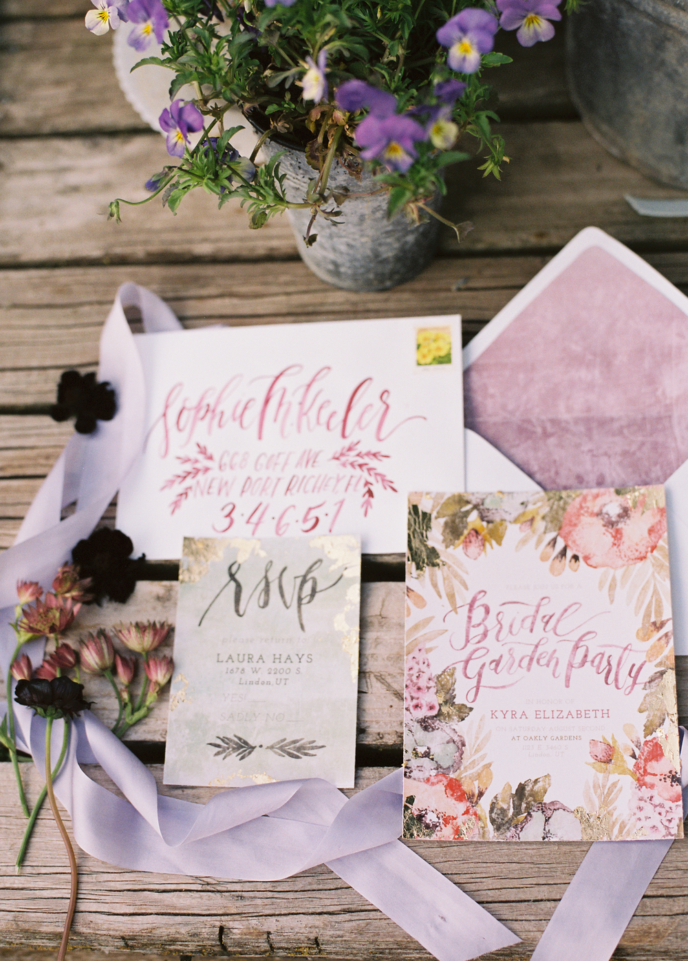 Bridal Party Stationery by Wildfield Paper Co | Photo by Loblee Photography