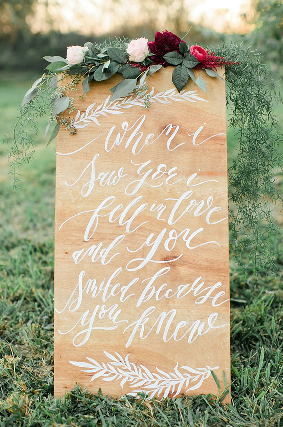 Wedding sign by Annie Mertlich of Wildfield Paper Co. & photo by Callie Hobbs Photography