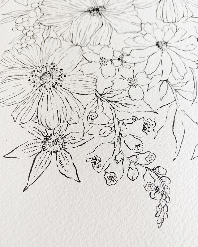 Can't get enough of those delicate inky lines! . The details have always been my favorite things to paint, but in recent years it's been a bit more about being productive and getting a high volume of work out! I honestly was starting to dislike painting because of that. . The ever so talented @emily_jeffords mentioned on her story the other day how doing it for the process is really the only way to go if you want to build a long term business that you love. I agree so much! Everything really falls into place so much better for me, and I am WAY happier when I'm doing it for the process that I love so much! . #doitfortheprocess #sumiink #inkflowers #tattoodesign #mintedartist #wildfieldpaperco #illustrationnow #art_daily
