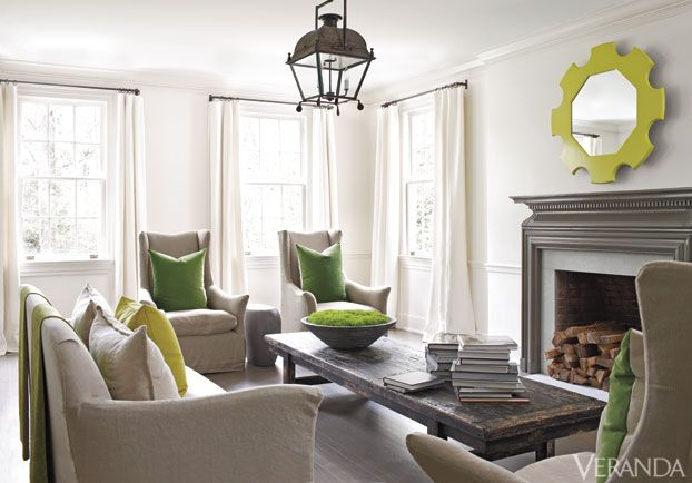 The Lime Green Accents In Living Room Shown Veranda Magazine Bring A Sense Of Freshness And Life To Neutral Pallet Can Easily Be Changed Out