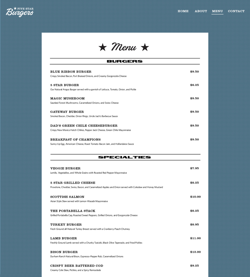 First iteration--Menu