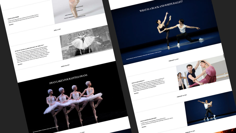 The new Explore section gives SF Ballet a platform to more deeply engage with patrons through educational articles, videos, and collaborator profiles