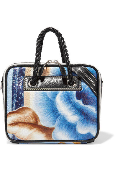 Blanket small floral-print textured-leather tote