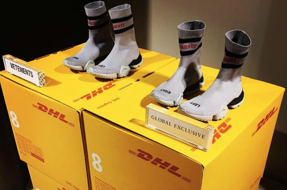 Vetements DHL and knit boots