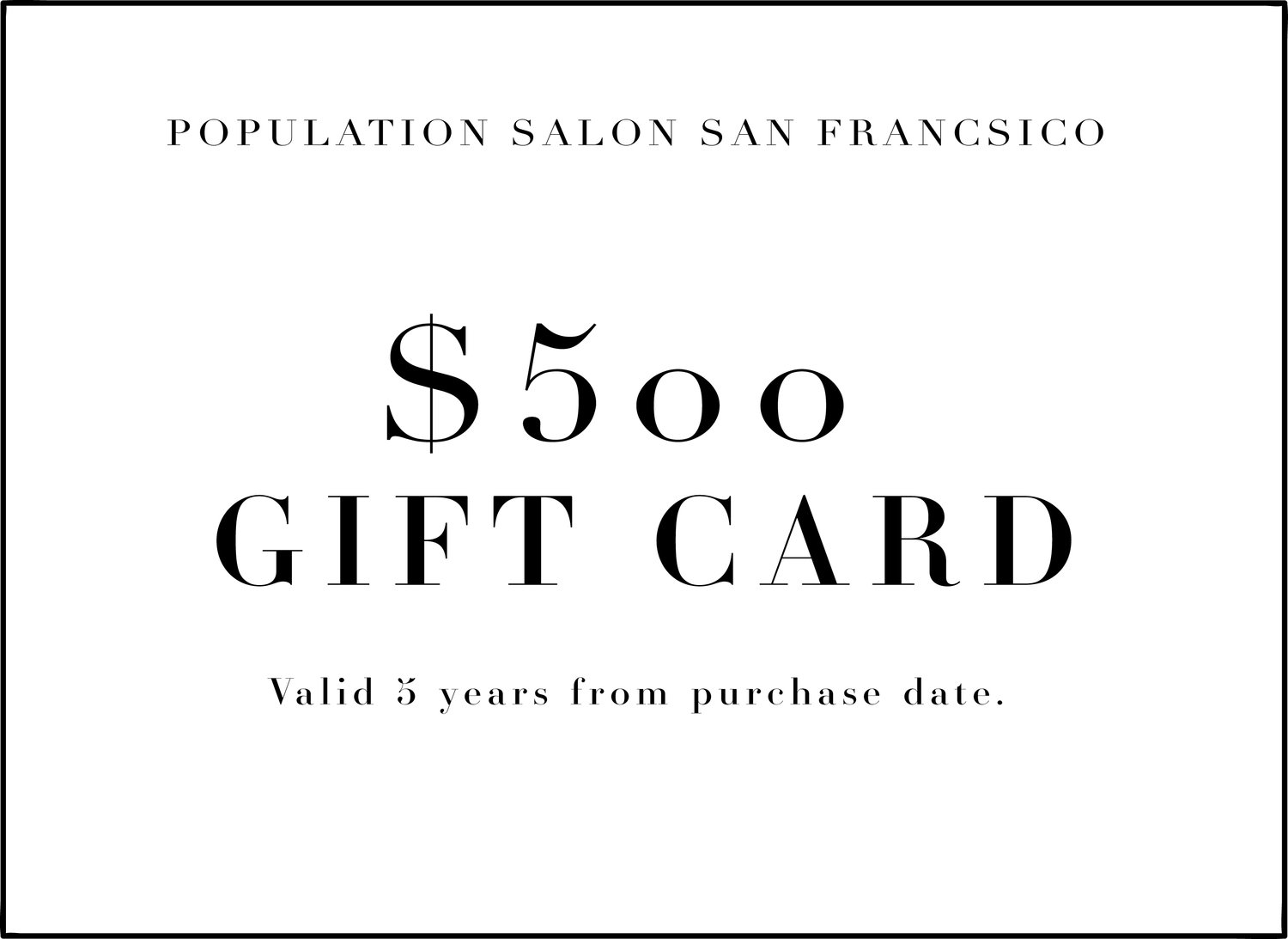Population Salon Online Gift Cards Voucher This Certificate Is Not Redeemable For Cash