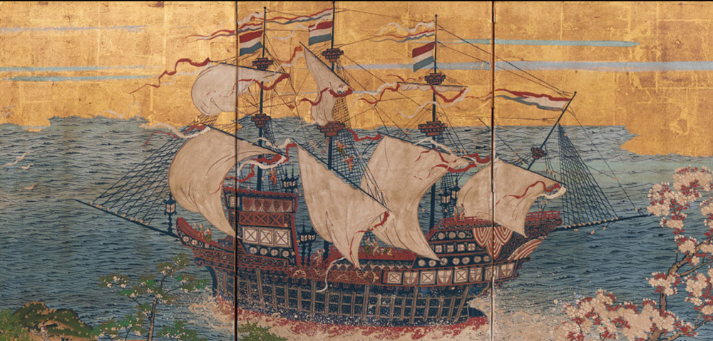 The key image of the Exhibition is this beautiful work 'Dutch trading ship in Japanese waters', c. 1870, four-panel screen, opaque watercolour, ink and gold on paper, 67.5 x 138.0 x 11.0cm; Kerry Stokes Collection, Perth