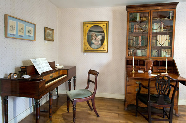 One of George Austen's original bookcases from Steventon is now at Chawton. (Photo credit Luke Wolagiewicz for The New York Times )
