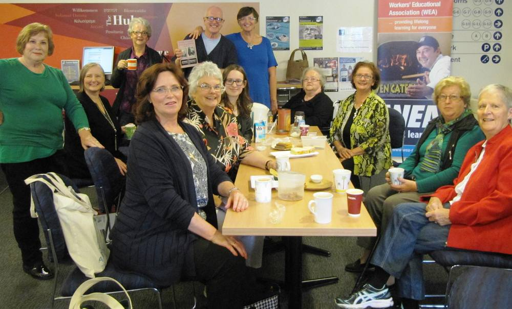 Nigel Starck enjoying a 'cuppa' with some of the friendly members of the Jane Austen Society of Adelaide.