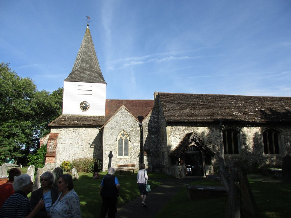 Our tour group arriving at St. Nicholas Church at Great Bookham.