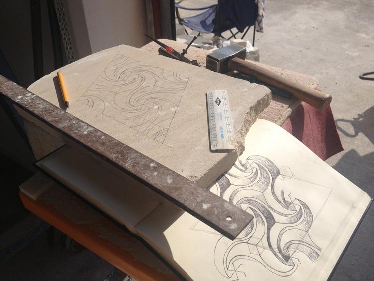 Transferring 2D 'cartoon' onto stone slab