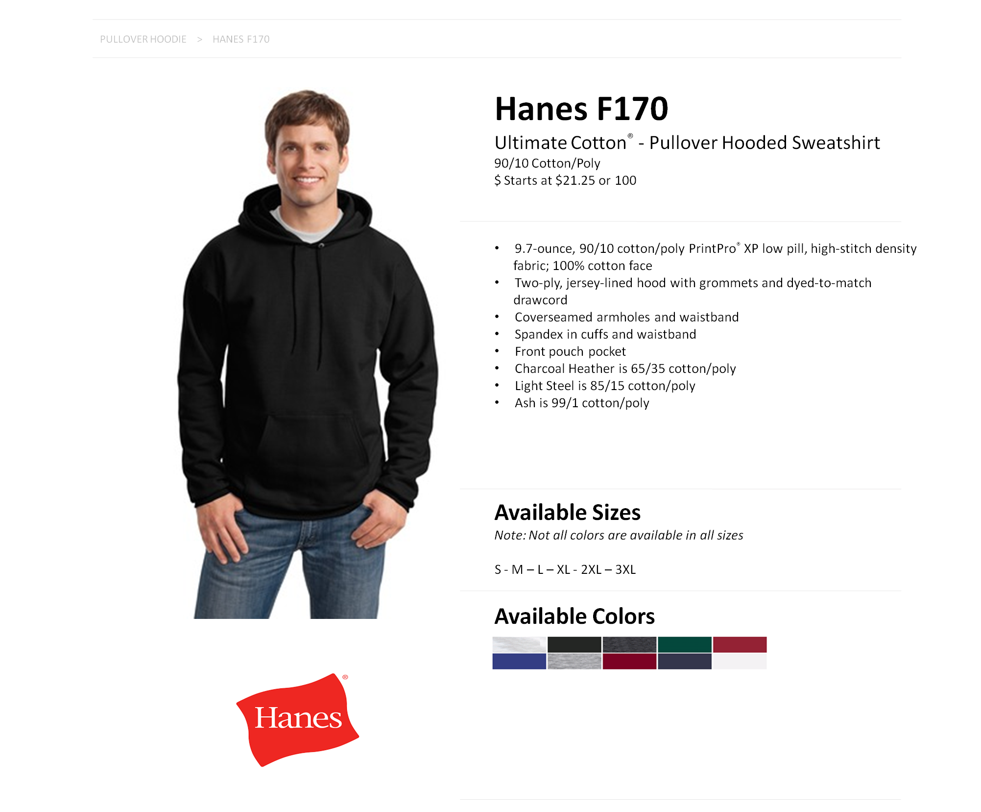 F170 Hanes 9.7 oz. Ultimate Cotton® 90/10 Pullover Hood — American ...