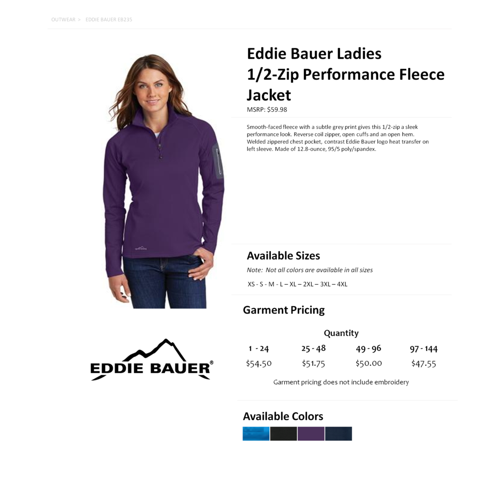 25e72ecb900 EB235 Eddie Bauer Ladies 1 2 Zip Performance Fleece Jacket ...