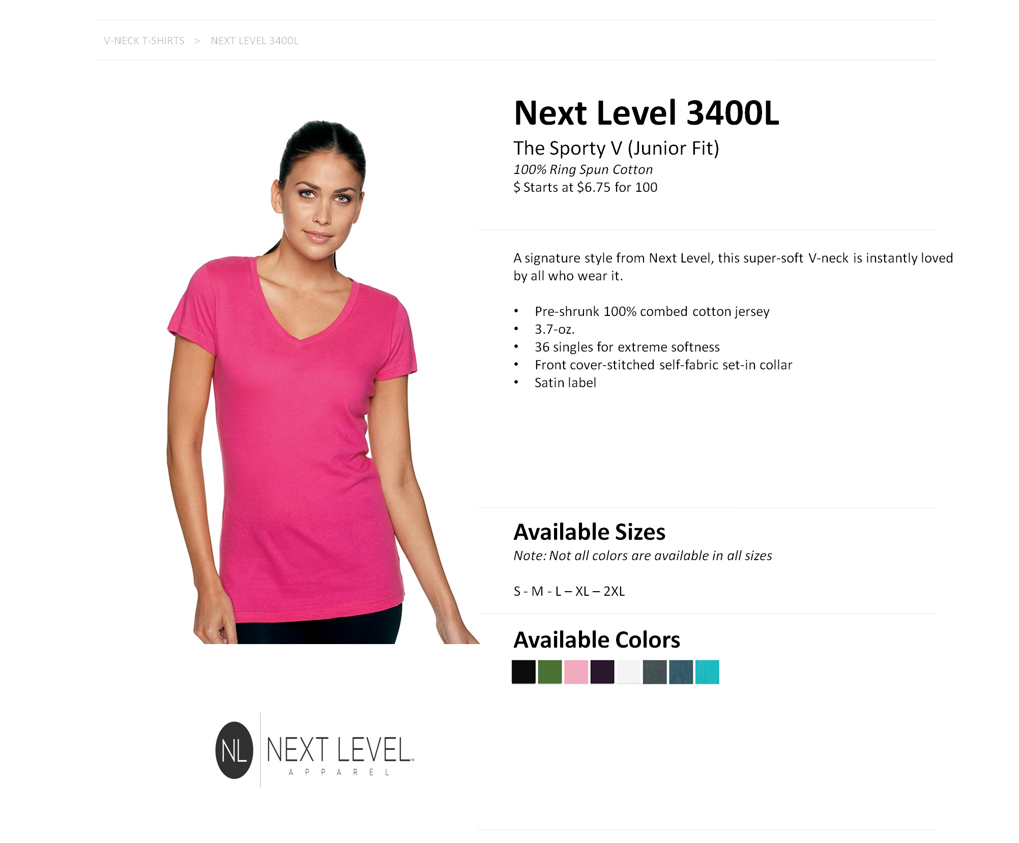 c0692067 3400L Next Level Ladies' Sporty V-Neck Tee — American Icon Merchandise