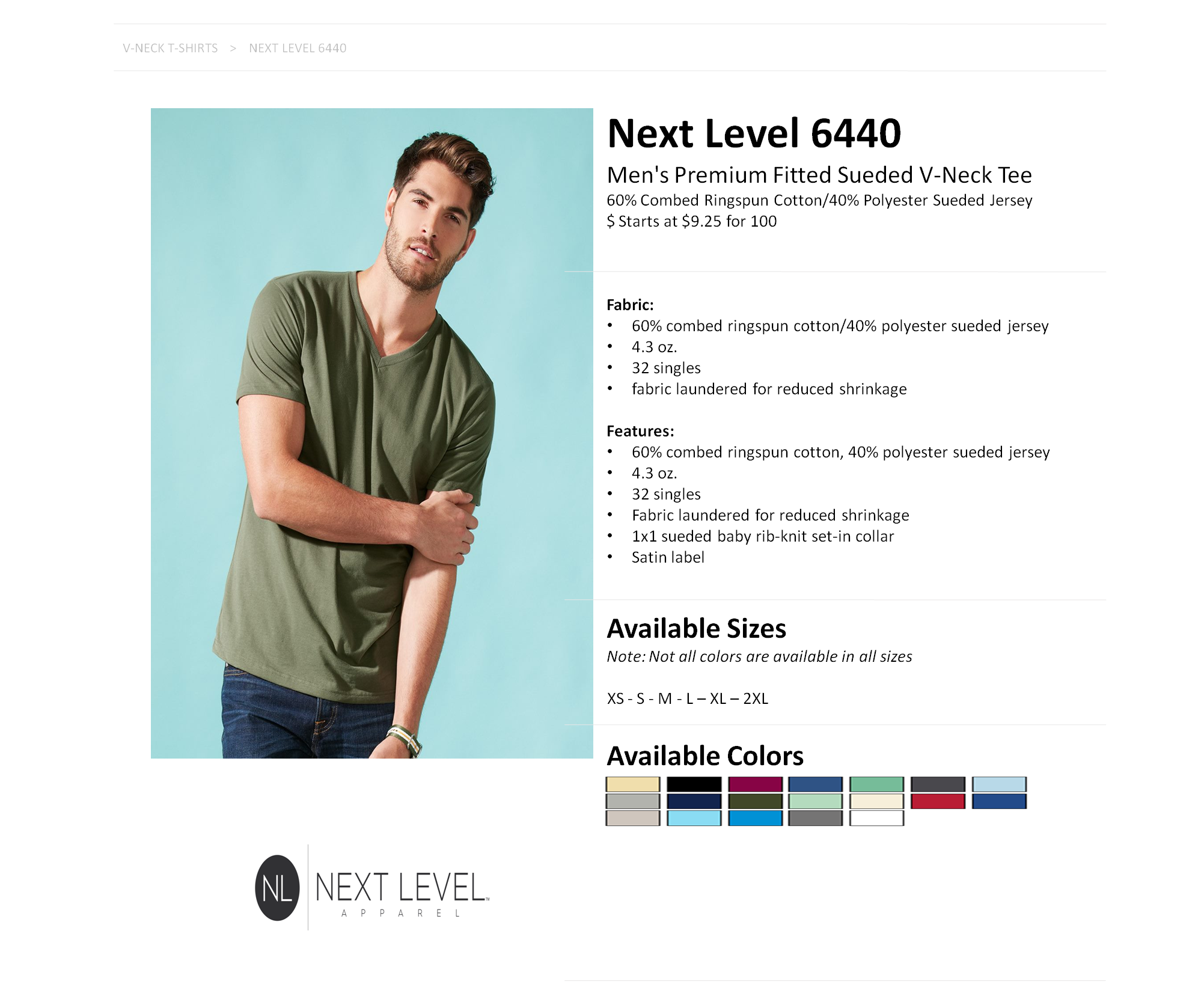 795f49ca3152 6440 Next Level Men's Premium Fitted Sueded V-Neck Tee — American Icon  Merchandise